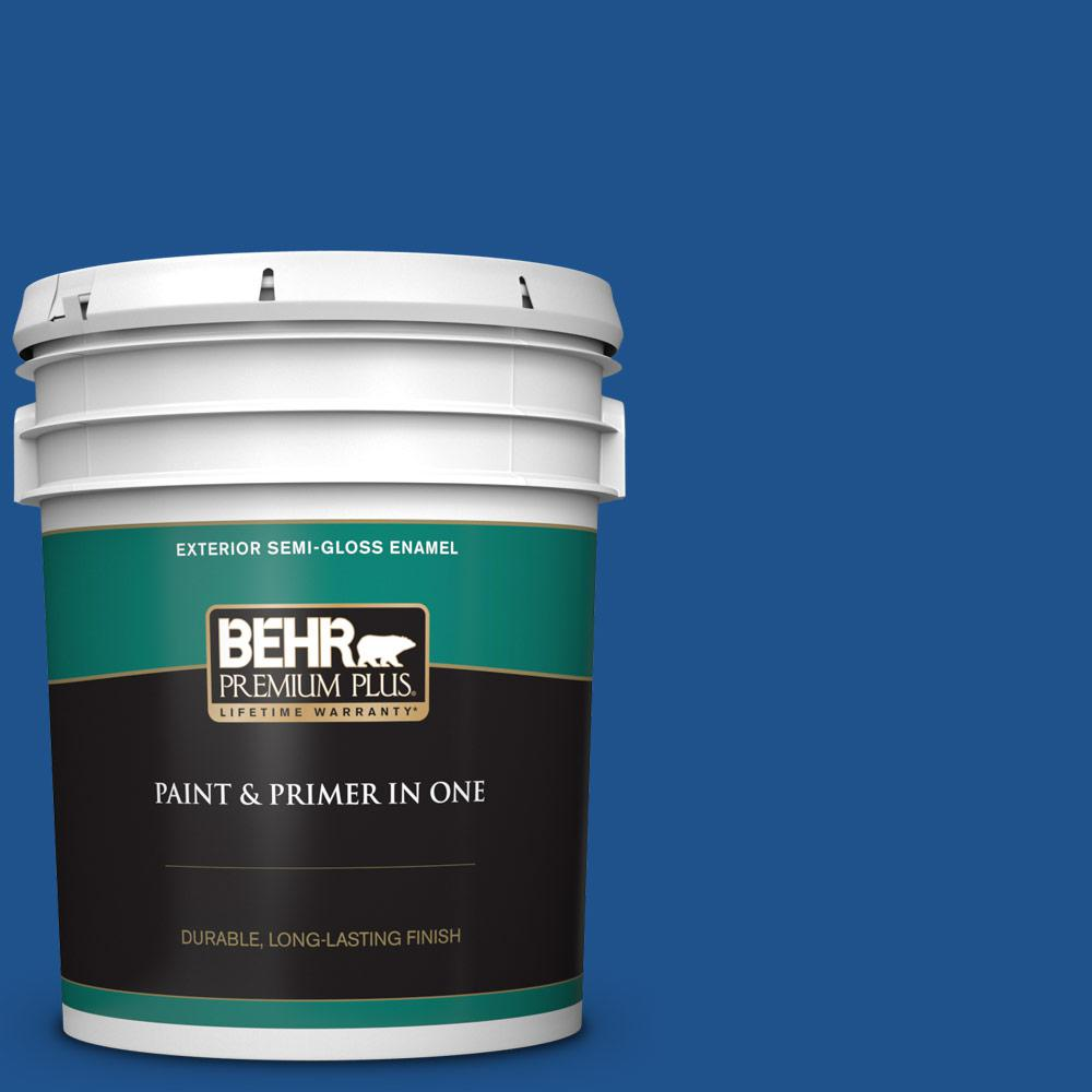 5 gal. #P520-7 Flashy Sapphire Semi-Gloss Enamel Exterior Paint and Primer in One