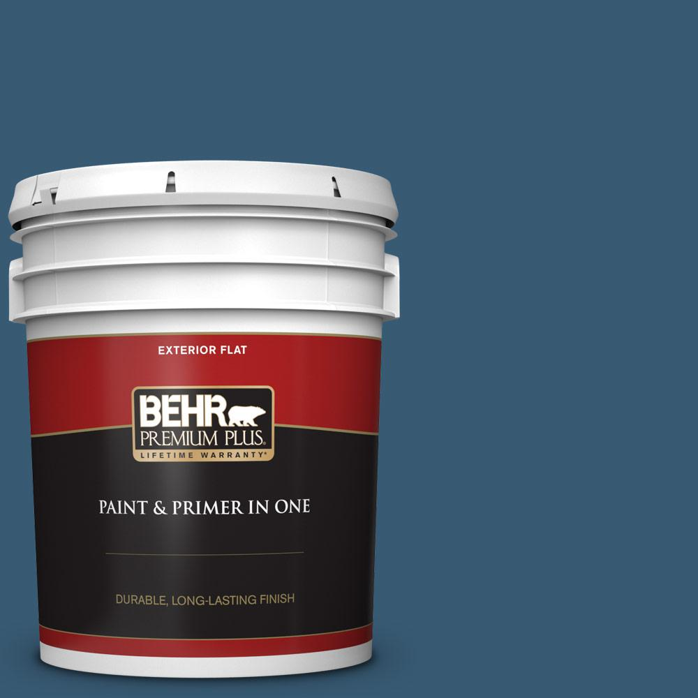 5 gal. #S490-7 Superior Blue Flat Exterior Paint and Primer in One