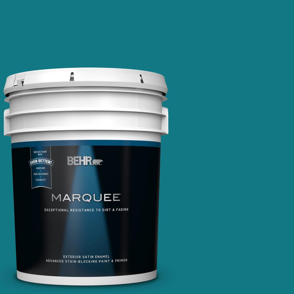 5 gal. #P470-7 The Real Teal Satin Enamel Exterior Paint and Primer in One