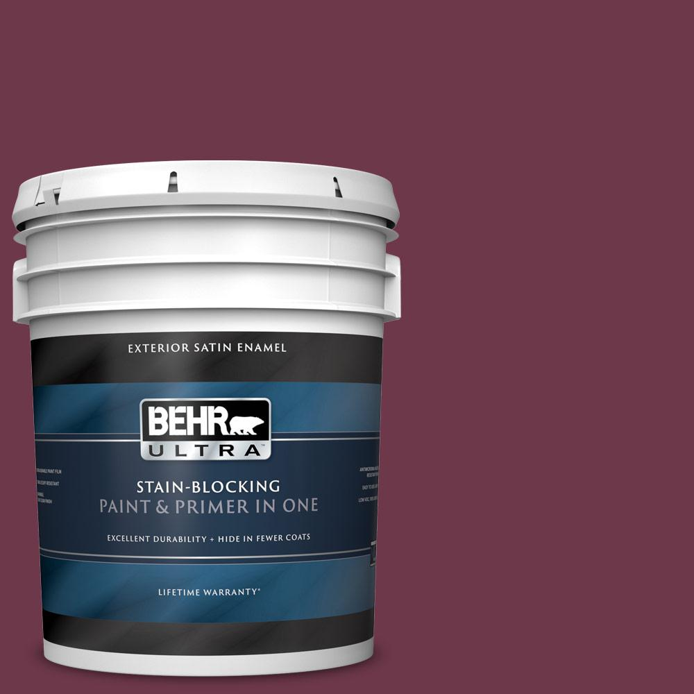 5 gal. #PPU1-14 Formal Maroon Satin Enamel Exterior Paint and Primer in One