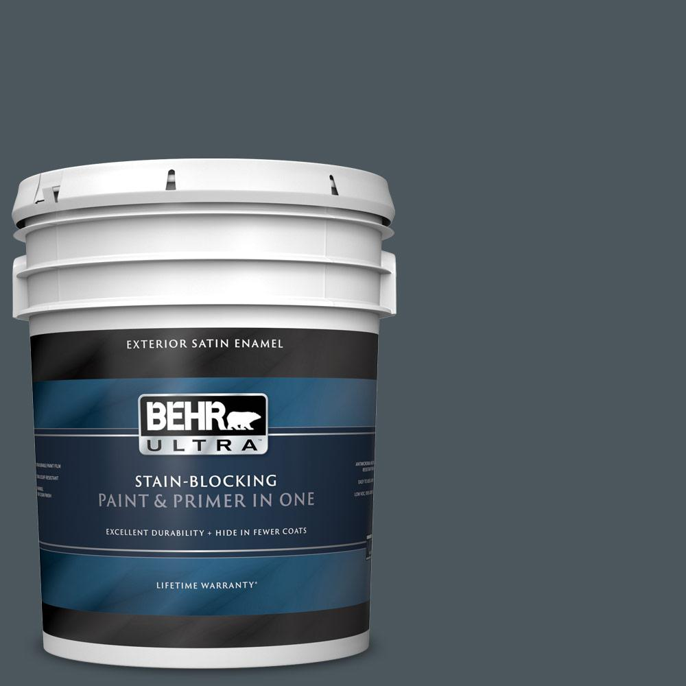 5 gal. #N470-7 Submarine Gray Satin Enamel Exterior Paint and Primer in One