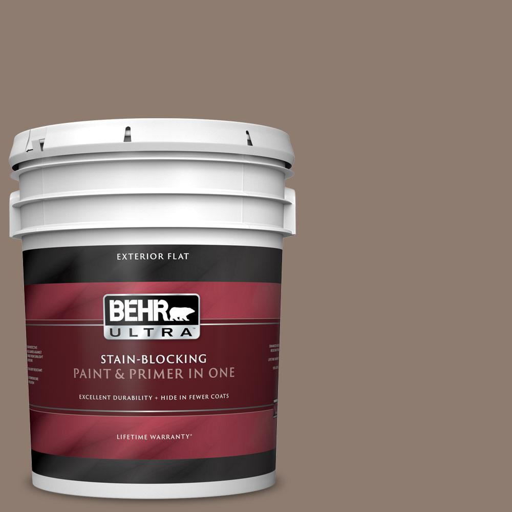 5 gal. #N180-5 Bridle Leather Flat Exterior Paint and Primer in One
