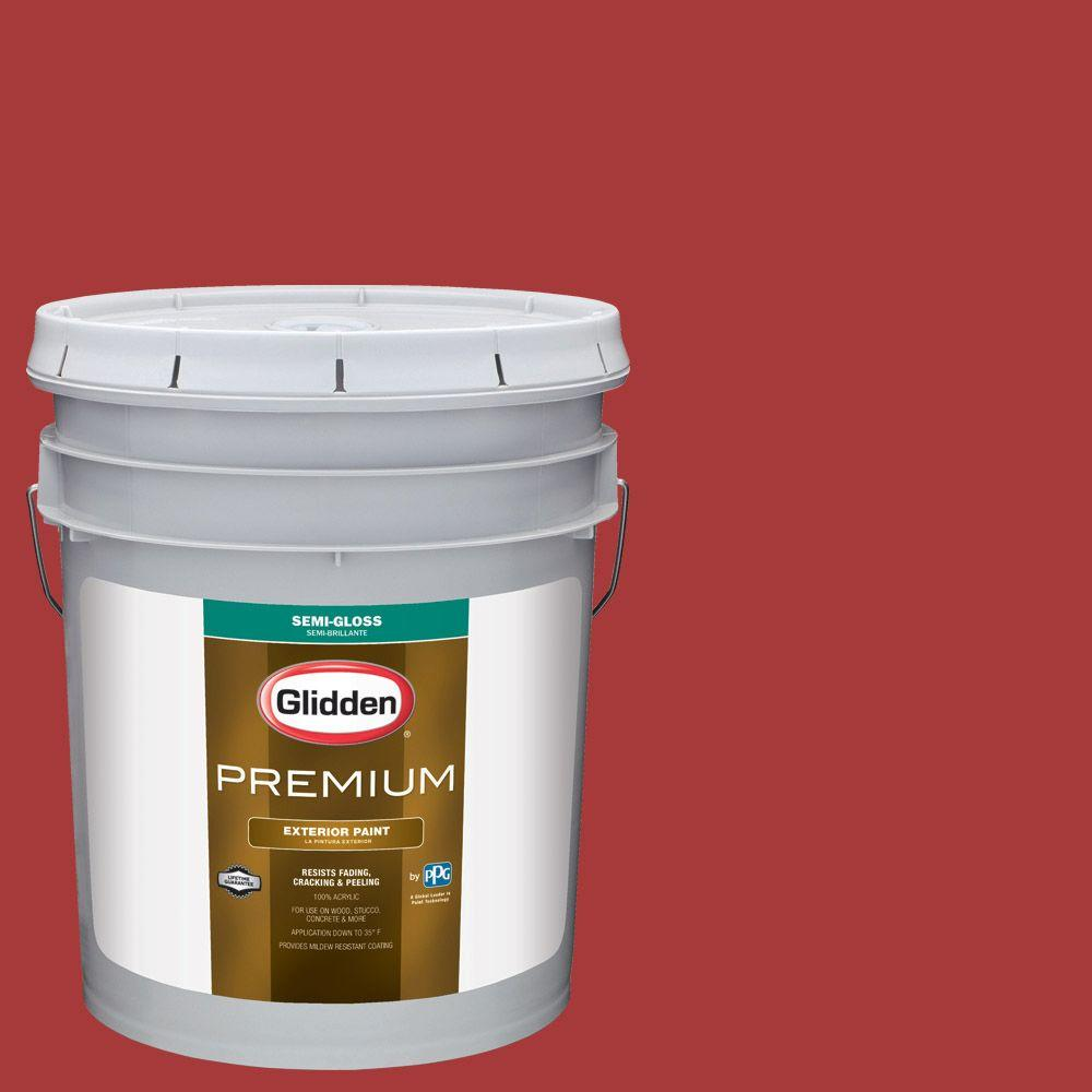5-gal. #HDGR53D Crimson Red Semi-Gloss Latex Exterior Paint