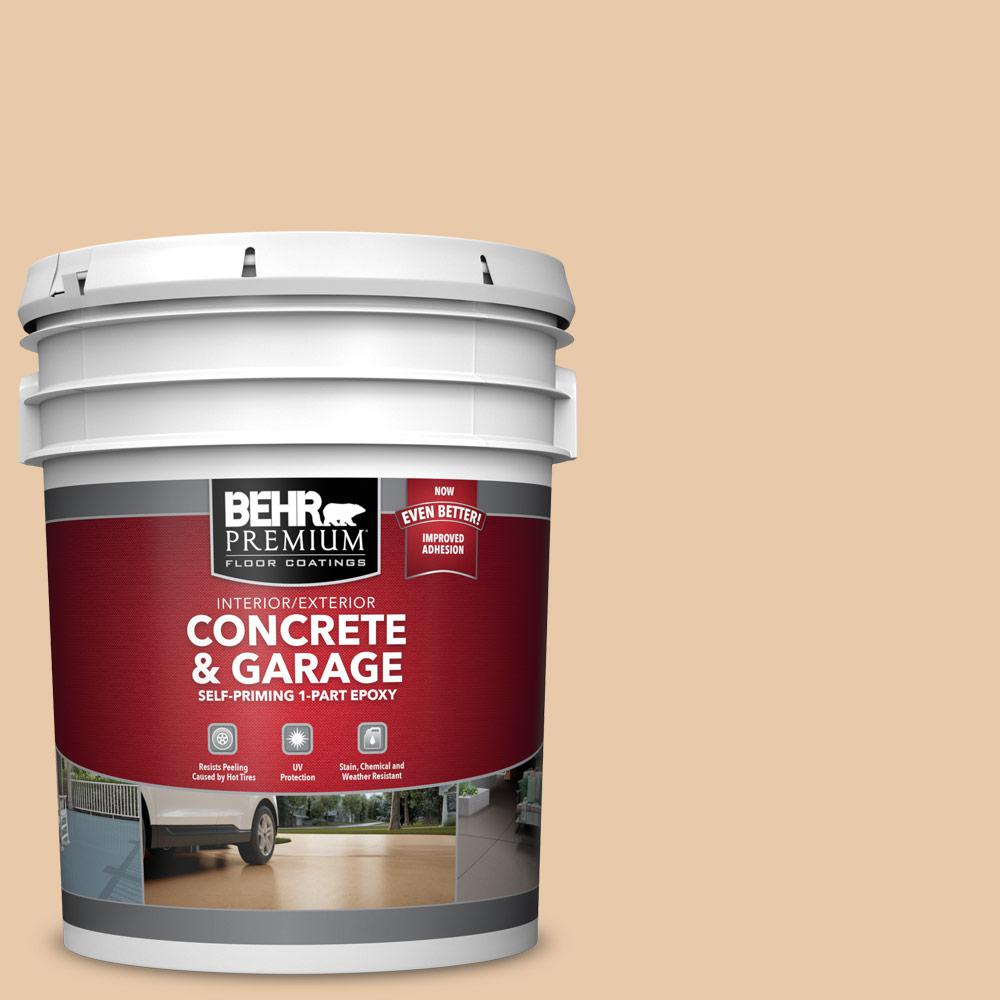 5 gal. #S250-2 Almond Biscuit 1-Part Epoxy Satin Interior/Exterior Concrete and Garage Floor Paint